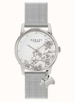 Radley 植物花卉|银色网状手链|白色花卉表盘 RY4401