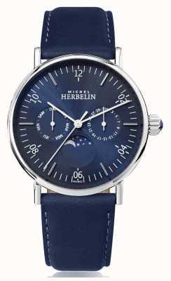 Michel Herbelin 蒙特雷灵感月相不锈钢蓝色皮革表带 12747/AP15BL