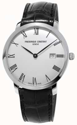 Frederique Constant 男士细线|自动|黑色皮革|银色表盘 FC-306MR4S6