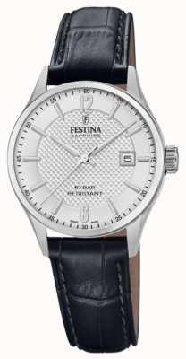 Festina |女士瑞士制造|黑色皮革表带|银表盘| F20009/1