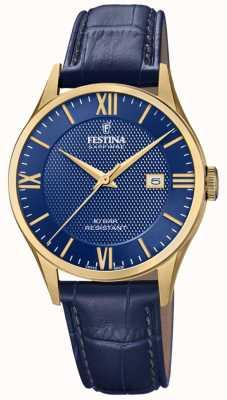 Festina |男士瑞士制造|镀金表壳|蓝色皮革| F20010/3