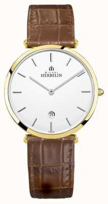 Michel Herbelin |男士epsilon |棕色皮革表带|银表盘| 19406/P11GO