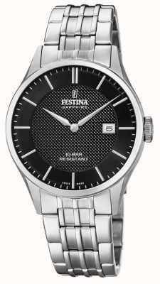 Festina |男士瑞士制造|不锈钢手链|黑色表盘 F20005/4