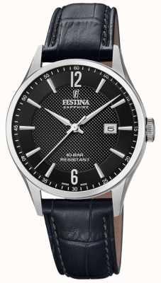 Festina |男士瑞士制造|黑色皮革表带|黑色表盘| F20007/4