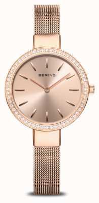 Bering |女装经典|玫瑰金网|水晶表圈 16831-366