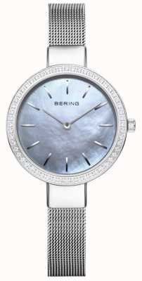 Bering |女装经典|银色网状手链|水晶表圈 16831-004