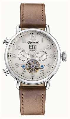 Ingersoll |缪斯自动|棕色皮革表带|白色表盘 I09502