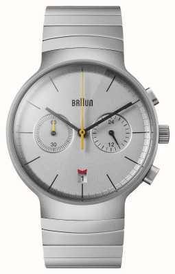 Braun 男士计时码表|银表盘|不锈钢手链 BN0265SLBTG