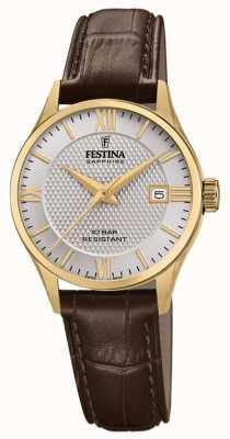 Festina |女士瑞士制造|棕色皮革表带|银表盘| F20011/2