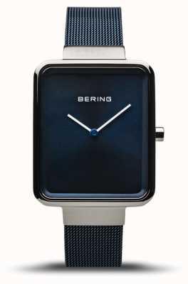 Bering 经典|抛光/拉丝银|蓝色网眼表带| 14528-307
