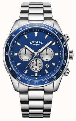 Rotary |男士亨利|蓝色计时码表盘|不锈钢| GB05109/05