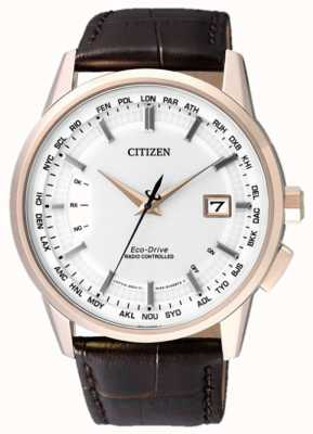 Citizen 永恒的无线电遥控|棕色表带|白色表盘 CB0153-21A