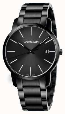 Calvin Klein |男士城市|黑色不锈钢手链|黑色表盘| K2G2G4B1