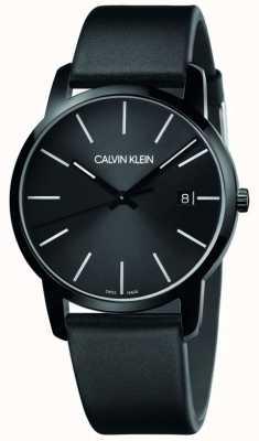 Calvin Klein |男士城市|黑色皮革表带|黑色表盘| K2G2G4CX