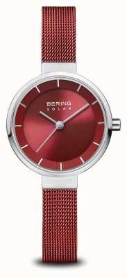Bering 太阳能|抛光银|红色网眼手链|红色表盘| 14627-303