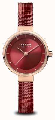 Bering |女式太阳能|抛光玫瑰金|红色网|红色表盘| 14627-363