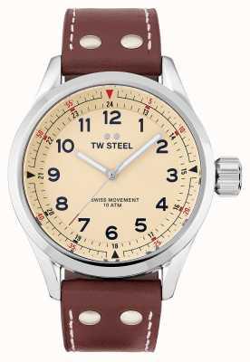 TW Steel |男士瑞士沃兰特|奶油色表盘|棕色皮革表带| SVS101