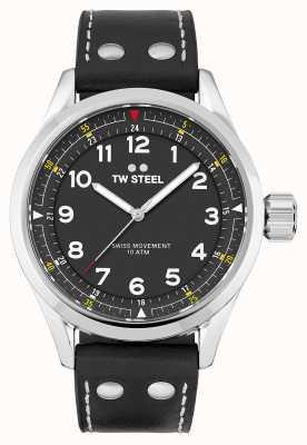 TW Steel |男士瑞士沃兰特|黑色表盘|黑色皮革表带| SVS103