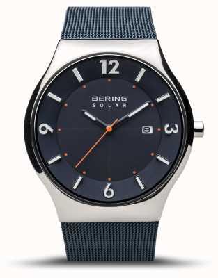 Bering |男装超薄太阳能|海军蓝|网眼手链| 14440-307
