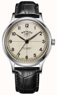 Rotary |男士限量版|遗产|黑色皮革表带| GS05125/32