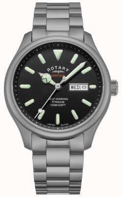 Rotary 男士Henley自动上链|钛手链|黑色表盘| GB05249/04