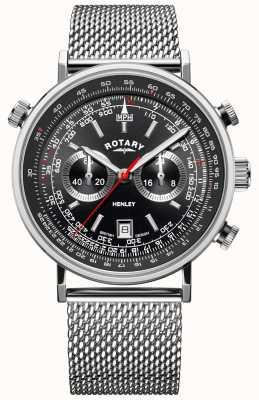 Rotary 男士亨利 钢网手链 黑色表盘  GB05235/04