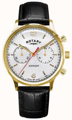 Rotary 男子复仇者 黑色皮革表带 金盒 白色表盘 GS05206/70