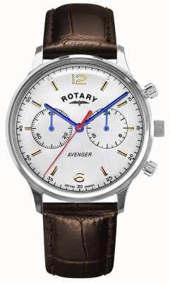 Rotary 男子复仇者|棕色皮革表带|银色表盘 GS05203/70