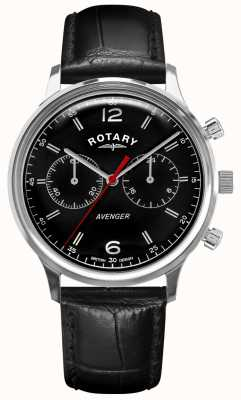 Rotary 男子复仇者 黑色皮革表带 黑色表盘  GS05203/04