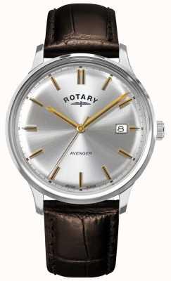 Rotary 男子复仇者|棕色皮革表带|银表盘| GS05400/06