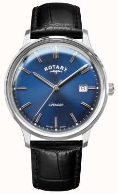 Rotary 男子复仇者|黑色皮革表带|蓝色表盘| GS05400/05