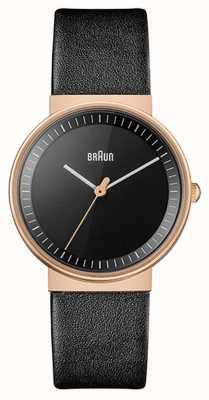 Braun 女装 |经典|黑色皮表带|黑色表盘|玫瑰 BN0031RGBKL