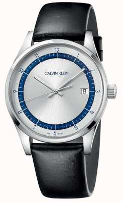 Calvin Klein  完成 黑色皮革表带 银色/蓝色表盘  KAM211C6