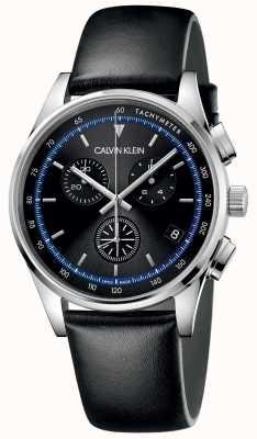 Calvin Klein  完成 黑色皮革表带 黑色表盘  KAM271C1