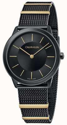 Calvin Klein |最小|黑色网眼手链|黑色表盘| 35毫米 K3M524Z1