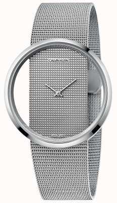 Calvin Klein |华丽银钢网状手链|银表盘| K9423T27