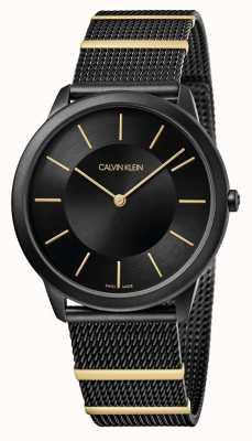 Calvin Klein |最小黑色钢网手链|黑色表盘| K3M514Z1