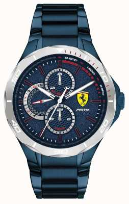 Scuderia Ferrari |男士pista |蓝色离子电镀钢手链|蓝色表盘 0830759