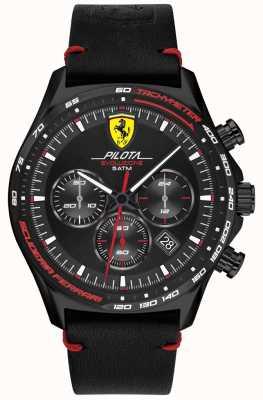 Scuderia Ferrari |男士领航evo |黑色皮革表带|黑色表盘 0830712