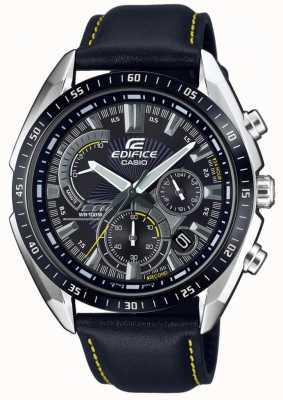 Casio |大厦|计时码表|黑色皮革表带|黑色表盘 EFR-570BL-1AVUEF