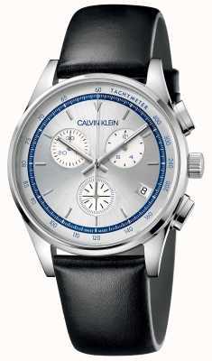 Calvin Klein |男子完成|黑色皮革表带|银色表盘 KAM271C6
