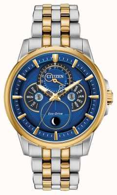 Citizen 男装生态驱动器|月相|蓝色表盘手表 BU0054-52L
