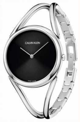 Calvin Klein 女士|不锈钢手镯|黑色表盘 KBA23121