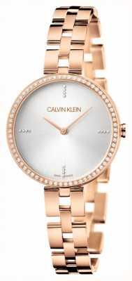 Calvin Klein 优雅|玫瑰金不锈钢手链|银色表盘 KBF23X4W