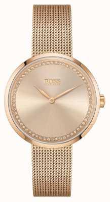 BOSS |女士好评|玫瑰金钢网手链|玫瑰表盘 1502548