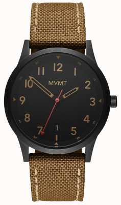 MVMT |领域棕色帆布表带|黑色表盘 28000017-D