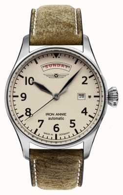 Iron Annie 自动飞行控制|棕色皮革表带|米色表盘 5164-3