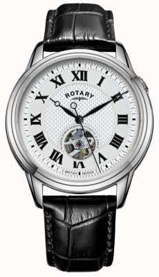 Rotary 剑桥自动|黑色皮革表带|银色表盘 GS05365/70