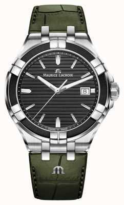 Maurice Lacroix Aikon石英 绿色皮革表带 黑色表盘 AI1008-PVB21-330-1