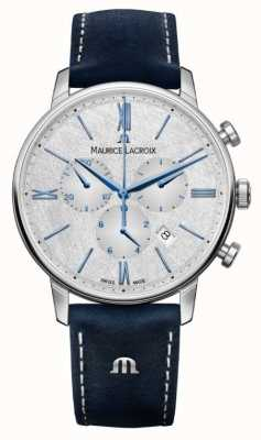 Maurice Lacroix Eliros计时码表 蓝色皮革表带 银色表盘 EL1098-SS001-114-1